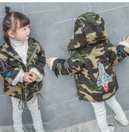 $enCountryForm.capitalKeyWord Canada - Children Girls Camouflage Rocket Coats Long Sleeve Kids Fashion Outwears With Hat Velvet Thicken Warm Winter Girls Boys Coats Outwears With