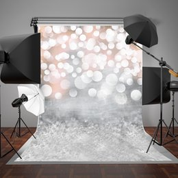 paint muslin backdrop Canada - 5x7ft(150x220cm) Dots Photography Background White Halo Glitter Photo Backdrop for Baby Birthday Backdrops