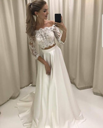 bridal piece wedding dress UK - Three Quarter Sleeves Lace Top Off Shoulder Two Piece Wedding Dresses Long Satin Skirt Bridal Gowns 2017 Free Shipping