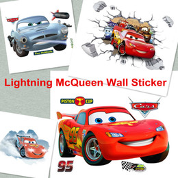 Big Size 90cm*60cm Cars Lightning McQueen 3D PVC Removable Broken Wall  Stickers For Kids Children Boys Room Home Decoration Poster Sticker
