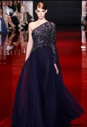 Barato Vestidos Bordados Elie Saab-Elie Saab Prom Dresses A-Line One Shoulder Manga comprida com bordados Beads Celebrity Red Carpet Vestido Andar Comprimento Chiffon Evening