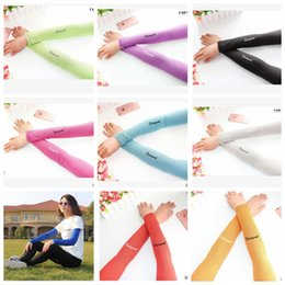 Thin Arm Sleeves Canada - Cooling Ice Silk Arm Sleeves UV Sun Protection Cycling Sport outdoor driving riding travel sports sunscreen thin ice silk Cuff LJJK702