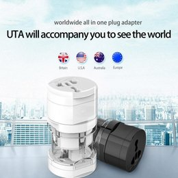 Power Socket Eu Australia - New Arrival UTA Universal Plug Electrical Adapter Portable Power Socket Outlet All in One Travel Converter Worldwide Use for US UK EU AU