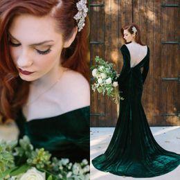 $enCountryForm.capitalKeyWord NZ - Elegant 2017 Dark Green Velvet Mermaid Evening Dresses Long Sleeves Cheap Sexy Backless Formal Prom Party Gonws Custom Made EN10916
