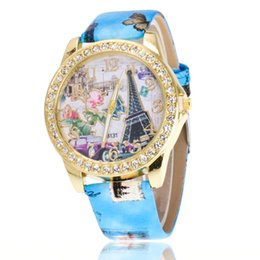 Chinese  Free shipping wholesale FashionableHan Ms Hot style set auger Paris Eiffel Tower watch fashion digital belt lady watch lady watch manufacturers
