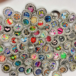 Bezel Setting Diy Canada - Wholesale 18mm Snap Button Rhineston Ginger Snap Chunk Button Mixed Style Interchangeable Diy Snap Jewelry Send Random