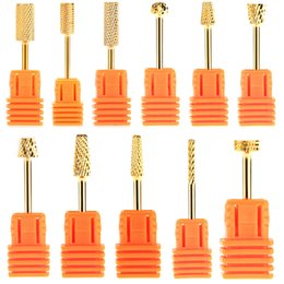new cylinder Canada - Brand New 11PCS Electric Cylinder Carbide File Drill Bit Golden Nail Art Manicure Pedicure Tools