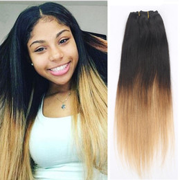 $enCountryForm.capitalKeyWord NZ - Brazilian Human Hair 100% Virgin Stiraight Ombre 1b 27 Hair Extension 3 Bundles Two Tone Honey Blonde Hair Extension