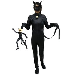 Masque De Chat Cosplay Pas Cher-Kids Miraculous Ladybug Cat Noir Cosplay Costume Avec Masque Ladybug Black Romper Costume Bodysuit Halloween Tight Jumpsuit