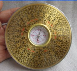 China Pole Australia - 9.7 cm *   Chinese manual sculpture copper Yin and Yang gossip feng shui compass