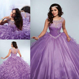 Robes Deboutantes Blinges Pas Cher-2017 Purple Rhinestones Quinceanera Robes Bling Jewel Neck Sweet 16 Masquerad Ball Gowns Organza Lavender Crystal Debutante Robe Ragazza