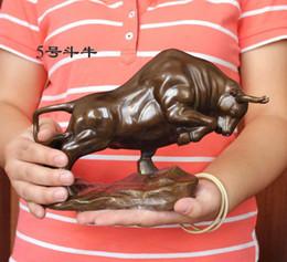 "$enCountryForm.capitalKeyWord NZ - Medium size Bronze coffee Wall Street Fierce Bull OX Figure Statue 9""Long"