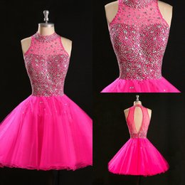 $enCountryForm.capitalKeyWord Canada - Real Image Cheap Homecoming Dresses 2017 Beaded Crystal Sequins High Neck Open Back Piping Short Mini Prom Dress Sweet 16 Girls Graduation