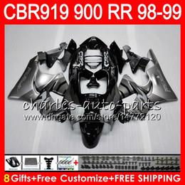 $enCountryForm.capitalKeyWord Canada - Body For HONDA CBR 919RR CBR900RR CBR919RR 98 99 CBR 900RR 68HM7 CBR919 RR CBR900 RR CBR 919 RR 1998 1999 Silver black Fairing kit 8Gifts
