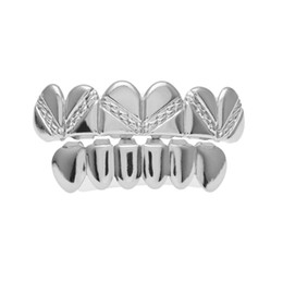 $enCountryForm.capitalKeyWord Canada - Hip Hop 14K Gold Silver Plated Top Bottom Teeth Grills Men Joker Grill Fake Mouth Grills for Christmas Costume