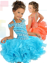 ritzee girls cupcakes NZ - Ritzee Girls B737 Stoned Bodice Cupcake Pageant Dresses for Little Girls with Basque Waist Ruffled Skirt Short Toddlers Pageant Dress
