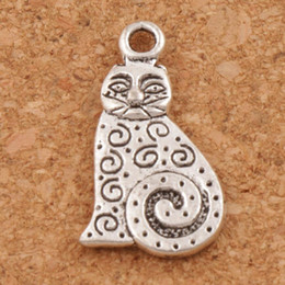 Chinese  Dots Swirl Fat Cat Charms Pendants 180pcs lot 12x22mm Antique Silver Jewelry DIY Fit Bracelets Necklace Earrings L1158 manufacturers