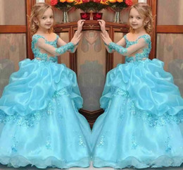 Barato Vestidos Longos Para Princesas-New Arrival Princess Ball Gown Vestidos para desfile de meninas 2017 Beaded Kids Flower Girl Dress Sheer Neck Long Sleeves Wedding Party Gowns