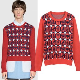 06d4c687fae Woolen sWeater styles knitting online shopping - Red Geometric Animal Print Pullover  Men Brand Same Style