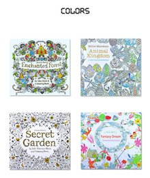 Adult Coloring Books 4 Designs Secret Garden Animal Kingdom Fantasy Dream Enchanted Forest 24 Pages Kids Painting Colouring