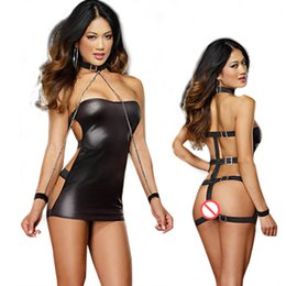 Sexy Games Playing NZ - Black Sexy Lingerie Dress Women PVC Catsuit Sexy Stripper Pole Fetish Wear Role Play Games Latex Catsuits Adult Sex Product