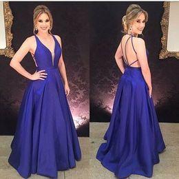 d22a299a10 V Neck Evening Dress Backless Celebrity Dress Lily Collins Dresses Evening  Sleeveless A-Line Satin Prom Gowns