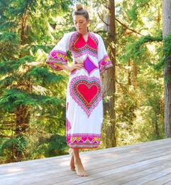 $enCountryForm.capitalKeyWord NZ - Vinatge National Style Printed Women Casual Dresses for Holidays 2017 Three Quater Sleeves V Neck A line Ankle Length Fashion Girl Dress