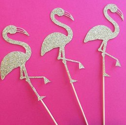 Bridal Shower Cupcakes Toppers NZ - custom personality Gold Flamingo wedding cupcake toppers birthday Appetizer Picks Bridal baby shower Bachelorette party decorations