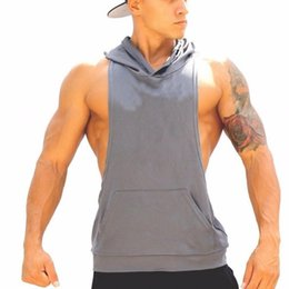 Maillot De Survêtement Maillot À Capuche Pas Cher-Vente en gros- veste de musculation vêtements de bodybuilding 2017 Four tank top Sweat à capuche Pure Color Vest