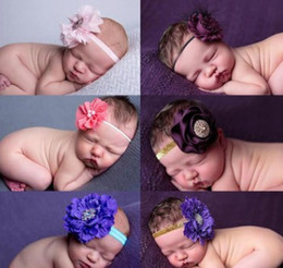 crystal flowers photography 2019 - 2017 New Baby Girls Lovely Big Flowers Crystal Design Headband Photography Props Ribbon Floals Newborn Hairbands Accesso