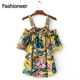 Chemise Jaune Épaulée Pas Cher-Fashioneer Blouse Pour Femme Yellow Sling Imprimé Floral Off Shoulder Backless Short Sleeve Loose S-L Taille Chemises Pour Femmes Lady
