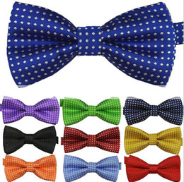 Wholesale new Children S ties boy s girl s bow tie fashion baby bow tie polyester yarn material kids shirt dots tie party supply colors