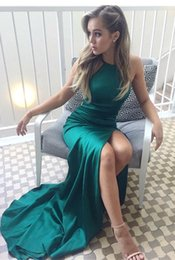 Barato Halter Neck Dress Split-2018 New Elegant Hunter Green Split Prom Vestidos baratos Robe de sorieeSheath Halter Neck Sleeveless Party Dresses Evening Formal Wear BA6752