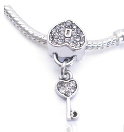Wholesale Fit Pandora Charm Bracelet Lock Key Heart CZ Crystal European Silver Bead Charms Beads DIY Snake Chain For Women Bangle Necklace Jewelry