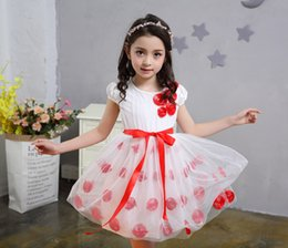 Gauze balls online shopping - 2017 new summer dress children Flower Princess Dress Girls gauze skirt short sleeved dress