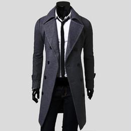 Atacado- 2016 New Mens Trench Coat Magro Mens Longos Casacos E Casacos Casaco Double Breasted Trench Coat Homens Windproof Outerwear Inverno em Promoção