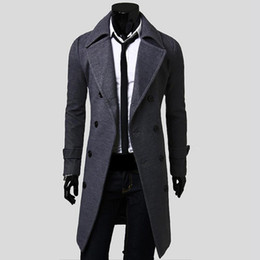 Venda por atacado - 2016 New Mens Trench Coat Slim Mens Casacos compridos e casacos Overcoat Double Breasted Trench Coat Men Windproof Winter Outerwear