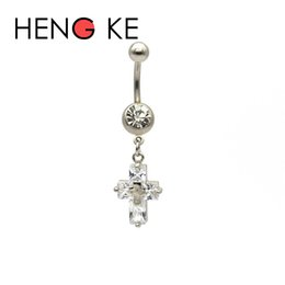 surgical body gems NZ - 3A Zircon Crystal Cross belly button rings Clear CZ Gem surgical steel Body Jewelry Sexy Navel Piercing Belly Bar Women