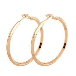 32feb506c Party Jewelry Hoop Earrings for Women 18K Yellow Gold White Gold Plated Big Round  Circle Female Earring Wedding Jewelry ER-957