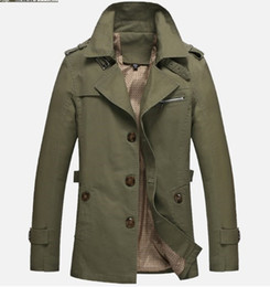 Longs Trenchs De L'armée Pas Cher-Vente en gros- Marque Cheap Spring Mens Trench Coat Single Breasted Hommes Long Coat Khaki Black Army Green Windbreaker Trenchcoat Big Size 5XL