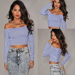 Top Femme À Rayures Bleues Pas Cher-Long Sleeve Sexy Royal-Blue White Stripes Off-the-shoulder Mini Cropped Top LC25161 ladies sexy tops T-shirts femme