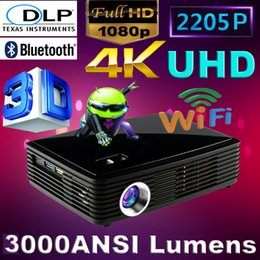 Proyector Wifi Australia - Wholesale-2016 1080P Android 4.4 Wifi Bluetooth Digital Smart DVD Beamer HDMI HD 4K DLP Shutter 3D pico Projector LED Video proyector