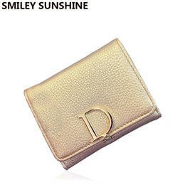small coin purse for girls Canada - Wholesale- Famous Brand Coin Purse Luxury Women Coin Pouch Gold Wallets for Girl 2015 Designer Ladies Small Purses Fashion Money Bag