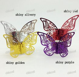 Restaurant Napkin Ring Canada - Wholesale- shiny butterfly Paper Napkin Rings Wrap clip towel table Decoration For Wedding Party Event Decors restaurant hotel