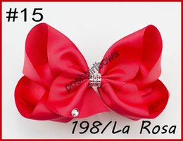 Cheerleader Hair Canada - free shipping 120pcs 8''rhonestone hair bows big Signature Hair Bow Dance Cheerleader Pageant Bows