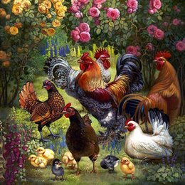 Home Garden Chicken Flower Wall Paintings For Living Rooms Crystal  Rhinestones Diy Diamond Painting Novelty Animals Cross Stitch Kits