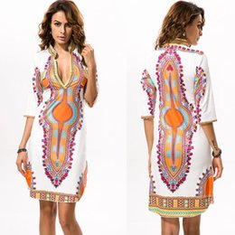 african print asymmetrical dress Canada - Women Casual African Dashiki Print V-Neck Half Sleeved Long Dress Cocktail Party Evening Dresses free shopping