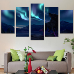 wolf landscape paintings 2019 - 5 Pcs Set Framed HD Printed Wall Art Night Wolf Painting Picture Print Home Decor Living Room Landscape Canvas Painting