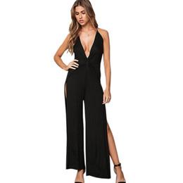 19ea1465dea Twisted Plunge Side Slit Jumpsuit Blue White Black Women Fashion Low Cut  Backless Combinaison Femme Body Feminino Sexy Overalls W861288