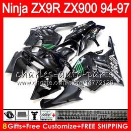 KawasaKi ninja zx9r 1997 online shopping - 8Gifts Colors For KAWASAKI NINJA ZX R ZX9R CC HM1 gloss black ZX R ZX900 ZX900C ZX R Fairing kit